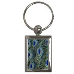 Peacock Feathers Blue Bird Nature Key Chains (rectangle)