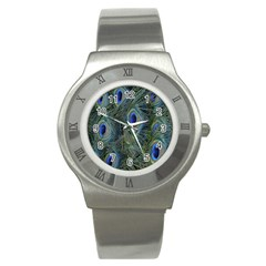 Peacock Feathers Blue Bird Nature Stainless Steel Watch