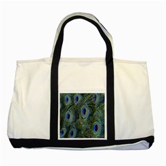 Peacock Feathers Blue Bird Nature Two Tone Tote Bag