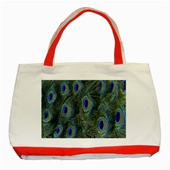 Peacock Feathers Blue Bird Nature Classic Tote Bag (red)