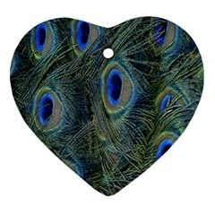 Peacock Feathers Blue Bird Nature Heart Ornament (two Sides)