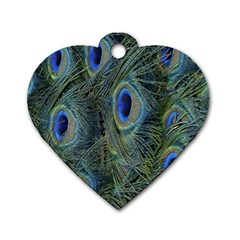 Peacock Feathers Blue Bird Nature Dog Tag Heart (two Sides)