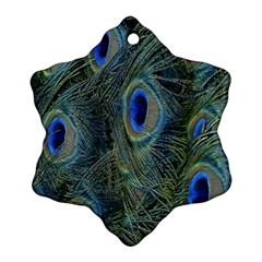 Peacock Feathers Blue Bird Nature Ornament (snowflake)