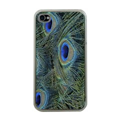 Peacock Feathers Blue Bird Nature Apple Iphone 4 Case (clear)