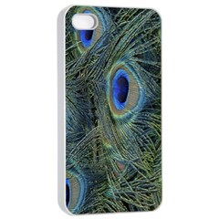 Peacock Feathers Blue Bird Nature Apple Iphone 4/4s Seamless Case (white)