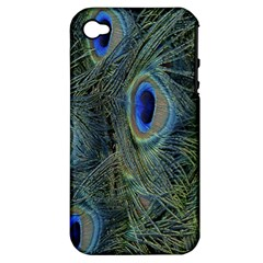 Peacock Feathers Blue Bird Nature Apple Iphone 4/4s Hardshell Case (pc+silicone)