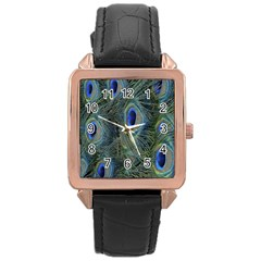 Peacock Feathers Blue Bird Nature Rose Gold Leather Watch