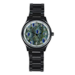 Peacock Feathers Blue Bird Nature Stainless Steel Round Watch