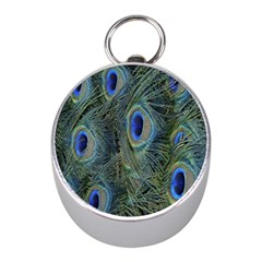 Peacock Feathers Blue Bird Nature Mini Silver Compasses