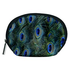 Peacock Feathers Blue Bird Nature Accessory Pouches (medium)