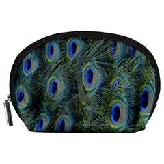 Peacock Feathers Blue Bird Nature Accessory Pouches (large)