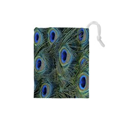 Peacock Feathers Blue Bird Nature Drawstring Pouches (small)