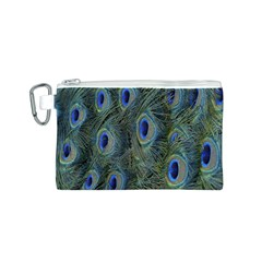 Peacock Feathers Blue Bird Nature Canvas Cosmetic Bag (s)
