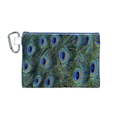 Peacock Feathers Blue Bird Nature Canvas Cosmetic Bag (m)