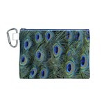 Peacock Feathers Blue Bird Nature Canvas Cosmetic Bag (M) Front