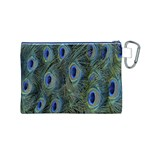 Peacock Feathers Blue Bird Nature Canvas Cosmetic Bag (M) Back