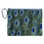 Peacock Feathers Blue Bird Nature Canvas Cosmetic Bag (XXL) Front