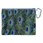 Peacock Feathers Blue Bird Nature Canvas Cosmetic Bag (XXL) Back
