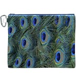 Peacock Feathers Blue Bird Nature Canvas Cosmetic Bag (XXXL) Front
