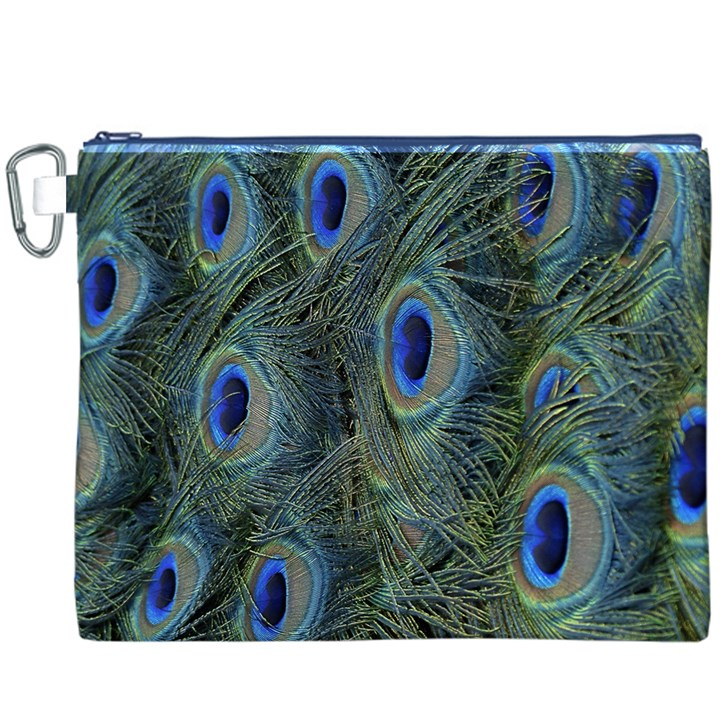 Peacock Feathers Blue Bird Nature Canvas Cosmetic Bag (XXXL)