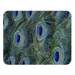 Peacock Feathers Blue Bird Nature Double Sided Flano Blanket (large)