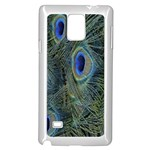 Peacock Feathers Blue Bird Nature Samsung Galaxy Note 4 Case (White) Front