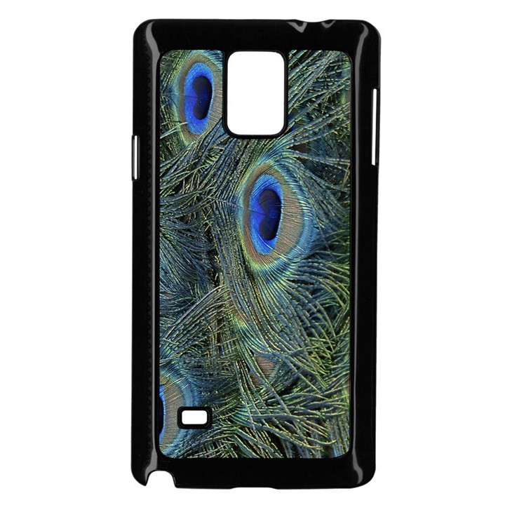 Peacock Feathers Blue Bird Nature Samsung Galaxy Note 4 Case (Black)
