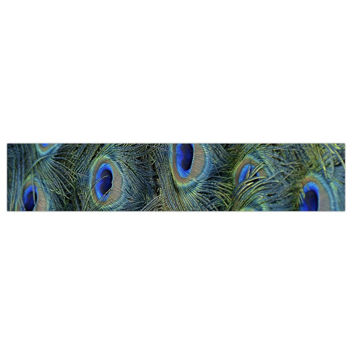 Peacock Feathers Blue Bird Nature Flano Scarf (Small)