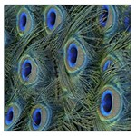 Peacock Feathers Blue Bird Nature Large Satin Scarf (Square) Front
