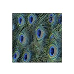 Peacock Feathers Blue Bird Nature Satin Bandana Scarf Front