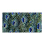 Peacock Feathers Blue Bird Nature Satin Wrap Front