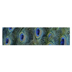 Peacock Feathers Blue Bird Nature Satin Scarf (oblong)