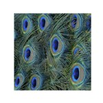 Peacock Feathers Blue Bird Nature Small Satin Scarf (Square) Front