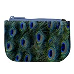 Peacock Feathers Blue Bird Nature Large Coin Purse Front