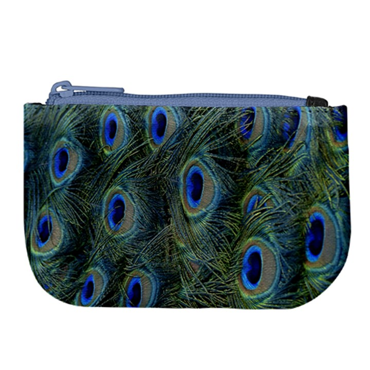 Peacock Feathers Blue Bird Nature Large Coin Purse