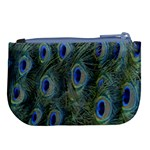 Peacock Feathers Blue Bird Nature Large Coin Purse Back