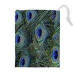 Peacock Feathers Blue Bird Nature Drawstring Pouches (Extra Large) Front