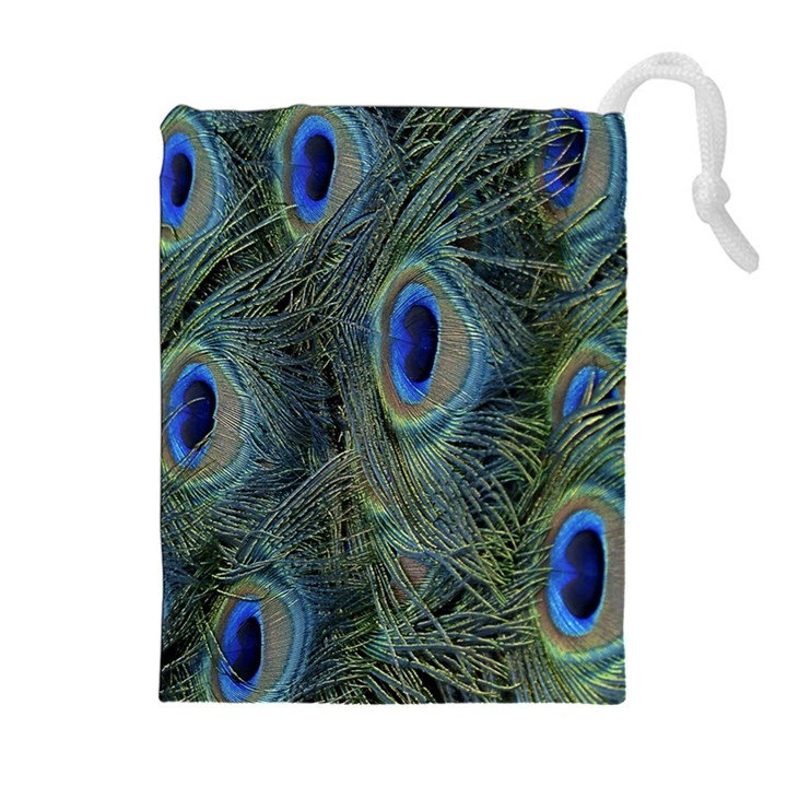 Peacock Feathers Blue Bird Nature Drawstring Pouches (Extra Large)
