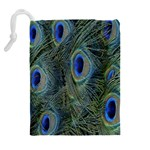 Peacock Feathers Blue Bird Nature Drawstring Pouches (Extra Large) Back