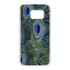 Peacock Feathers Blue Bird Nature Samsung Galaxy S7 White Seamless Case