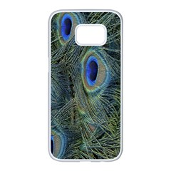Peacock Feathers Blue Bird Nature Samsung Galaxy S7 Edge White Seamless Case
