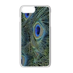 Peacock Feathers Blue Bird Nature Apple Iphone 7 Plus White Seamless Case