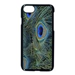 Peacock Feathers Blue Bird Nature Apple iPhone 7 Seamless Case (Black) Front