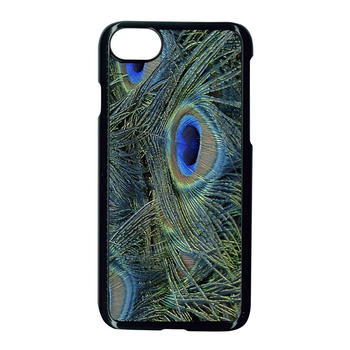 Peacock Feathers Blue Bird Nature Apple iPhone 7 Seamless Case (Black)