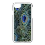 Peacock Feathers Blue Bird Nature Apple iPhone 7 Seamless Case (White) Front