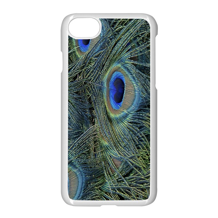 Peacock Feathers Blue Bird Nature Apple iPhone 7 Seamless Case (White)