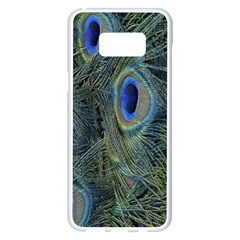 Peacock Feathers Blue Bird Nature Samsung Galaxy S8 Plus White Seamless Case