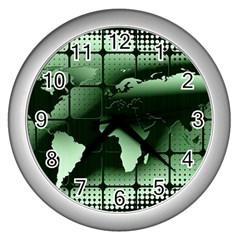 Matrix Earth Global International Wall Clocks (silver)