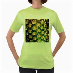 Pineapple Texture Macro Pattern Women s Green T Shirt