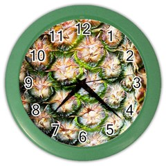 Pineapple Texture Macro Pattern Color Wall Clocks